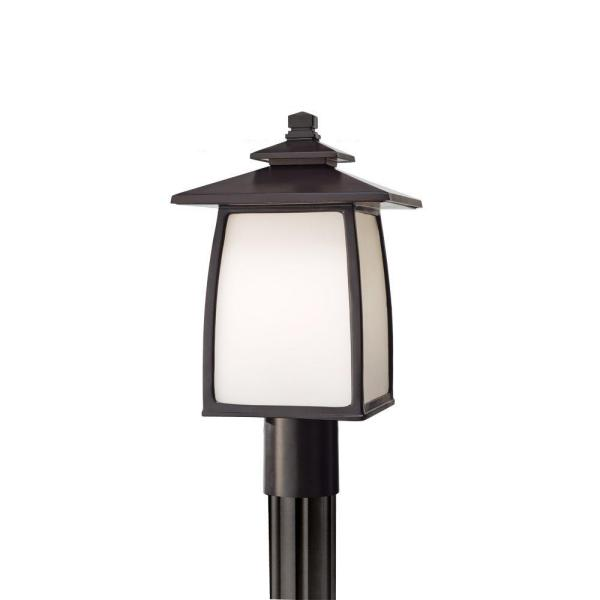 Wright House 1-Light Oil Rubbed Bronze Outdoor Post Lantern