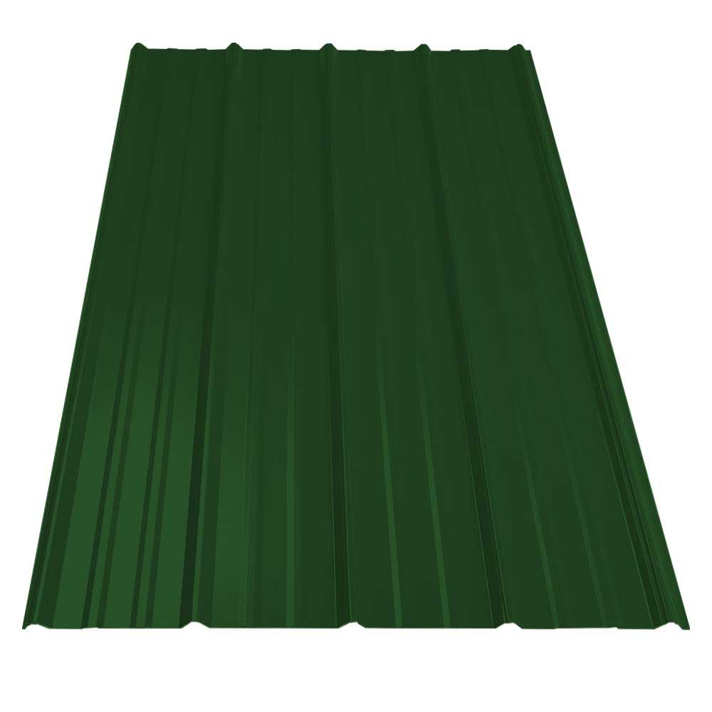 8 ft. SM-Rib Galvanized Steel 29-Gauge Roof Panel in Forest Green