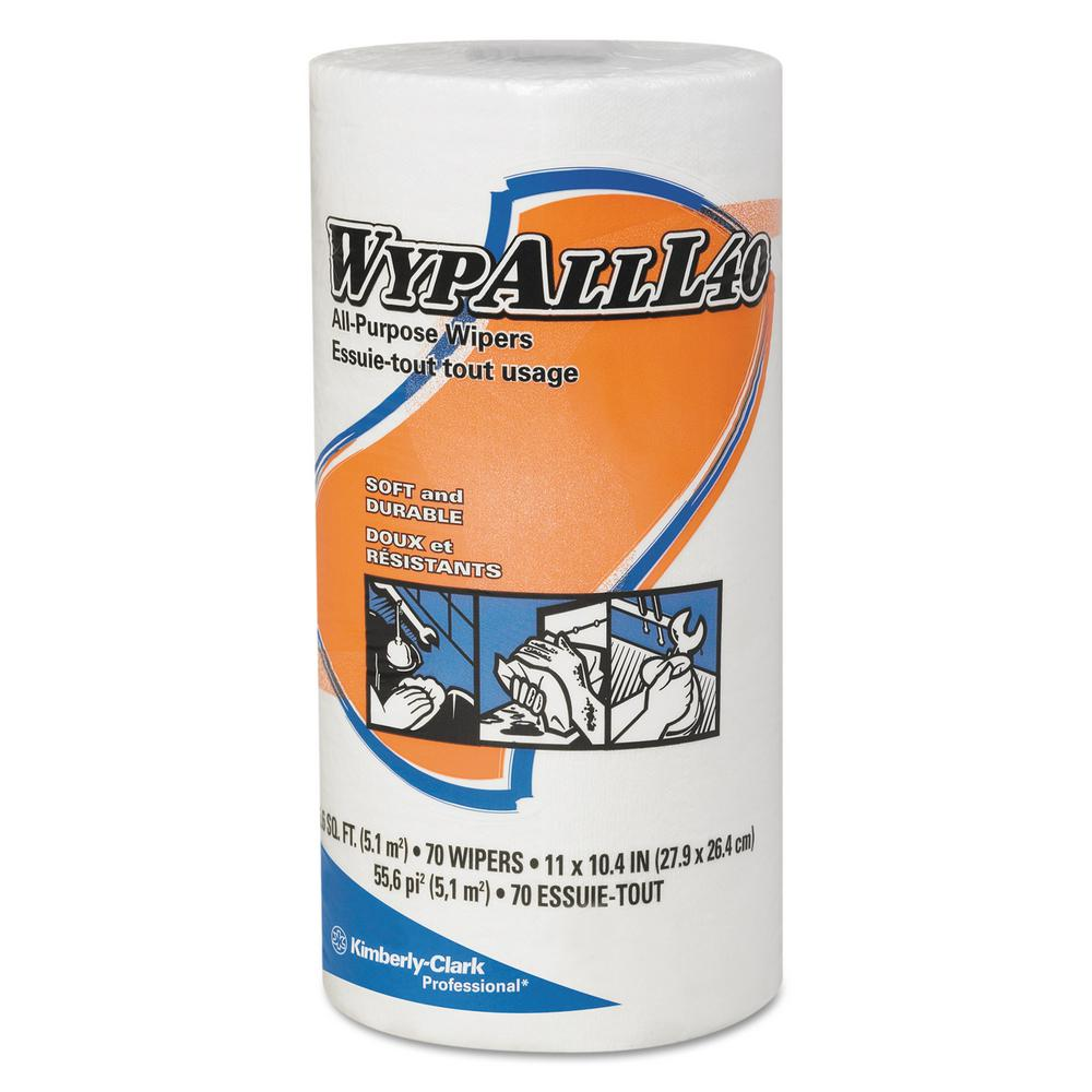 L40 Small Roll White Perforated Wipes (70 -Count)
