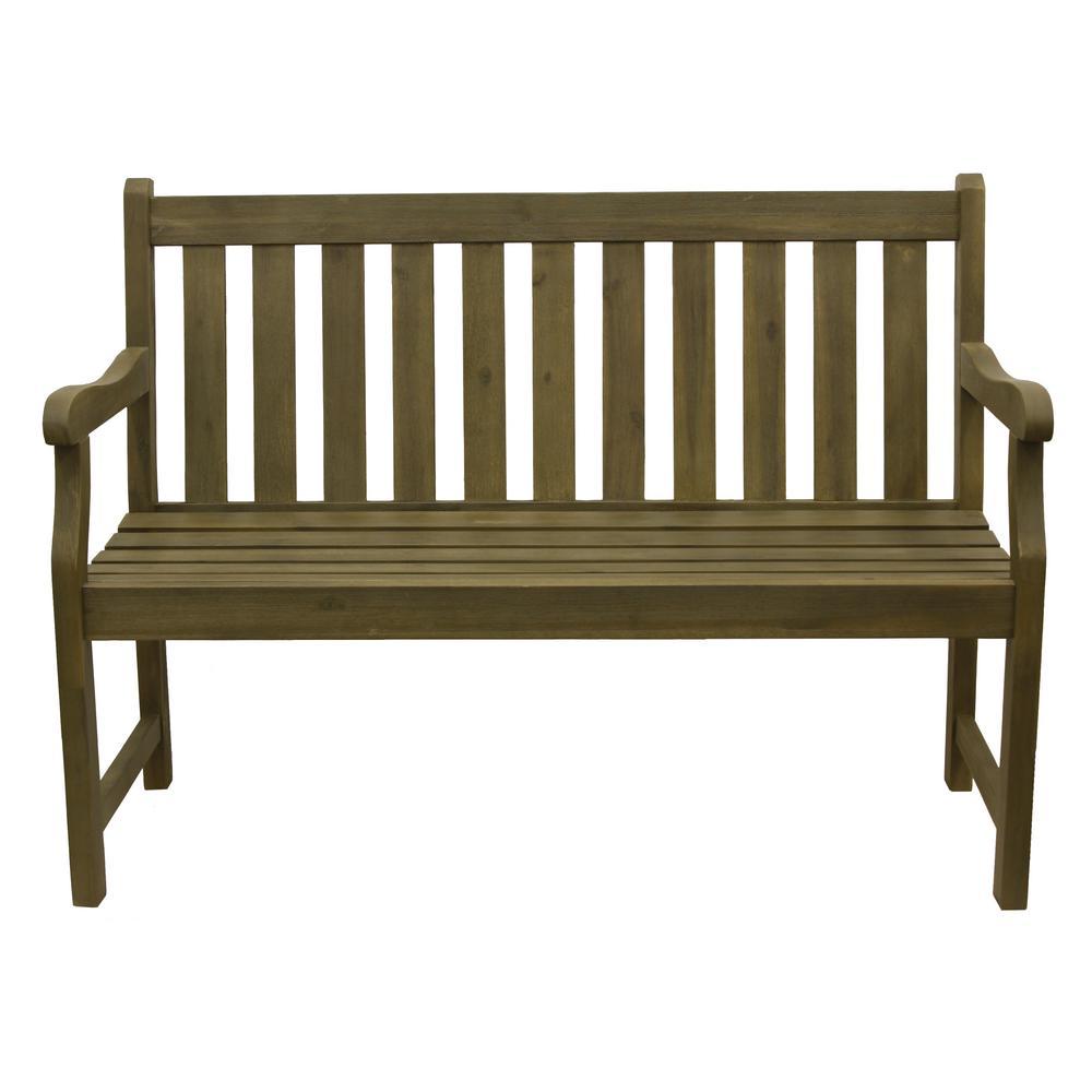 Henley 48 in. 2-Seat Fern Green Wood Outdoor Bench