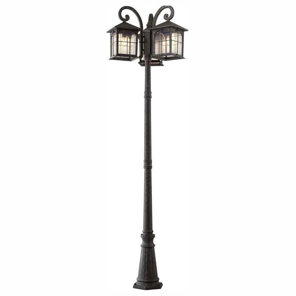 Brimfield 3-Head Aged Iron Outdoor Post Light