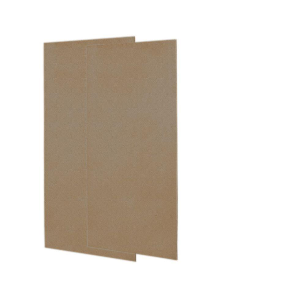 Swanstone 1/4 in. x 36 in. x 96 in. Two Piece Easy Up Adhesive Shower Wall Panels in Barley-DISCONTINUED