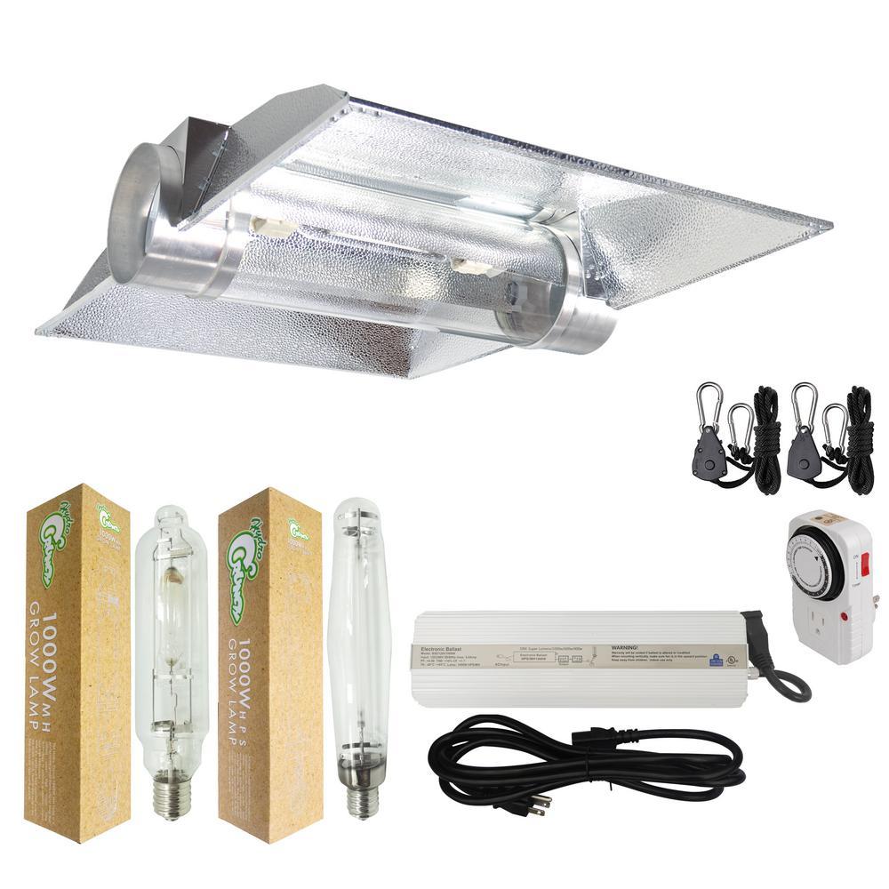 Hydro Crunch 1000 Watt Hps Mh Grow Light System With 8 In Cool Hood Reflector