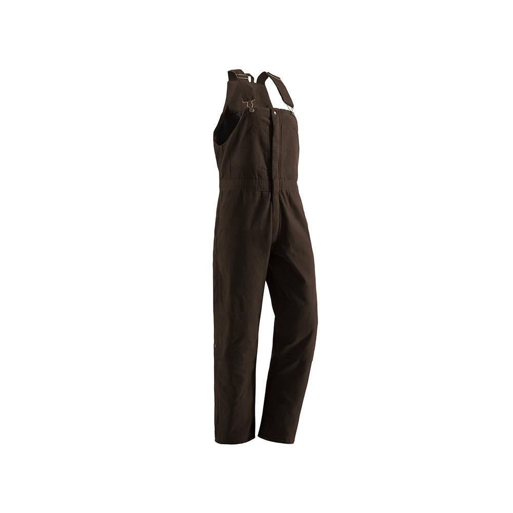 Women's Medium Short Dark Brown Cotton Washed Insulated Bib Overall