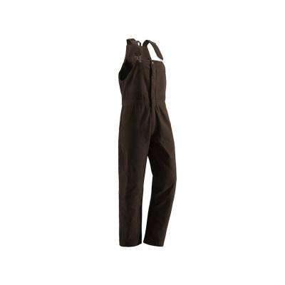 Women's Large Tall Dark Brown Cotton Washed Insulated Bib Overall