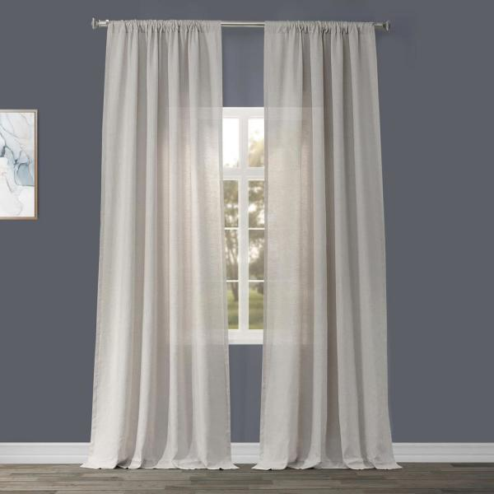 Birch Tan Linen Sheer Curtain - 50 in. W x 84 in. L