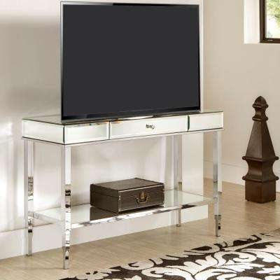 Chrome Mirrored Metal Sofa Table TV Stand with Drawer