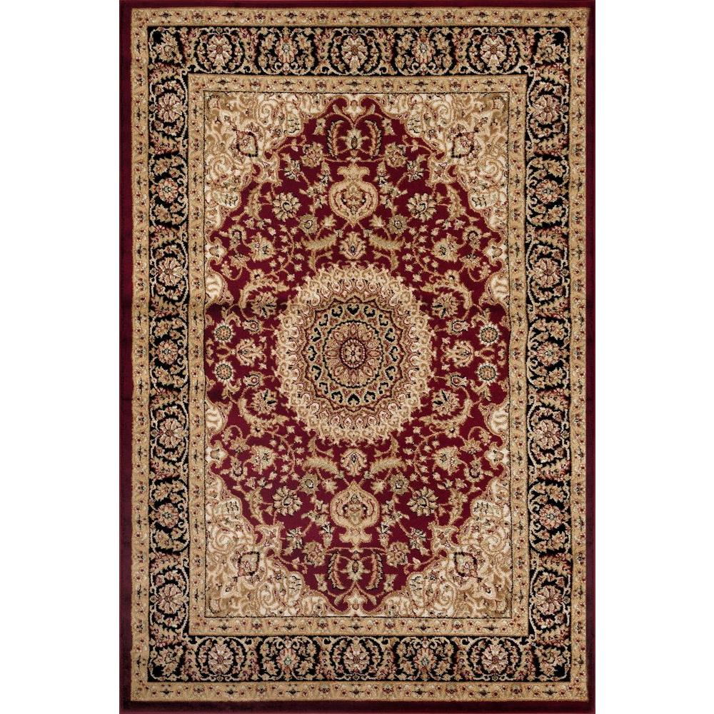 Traditional Oriental Medallion Burgundy Indoor Area Rug 9