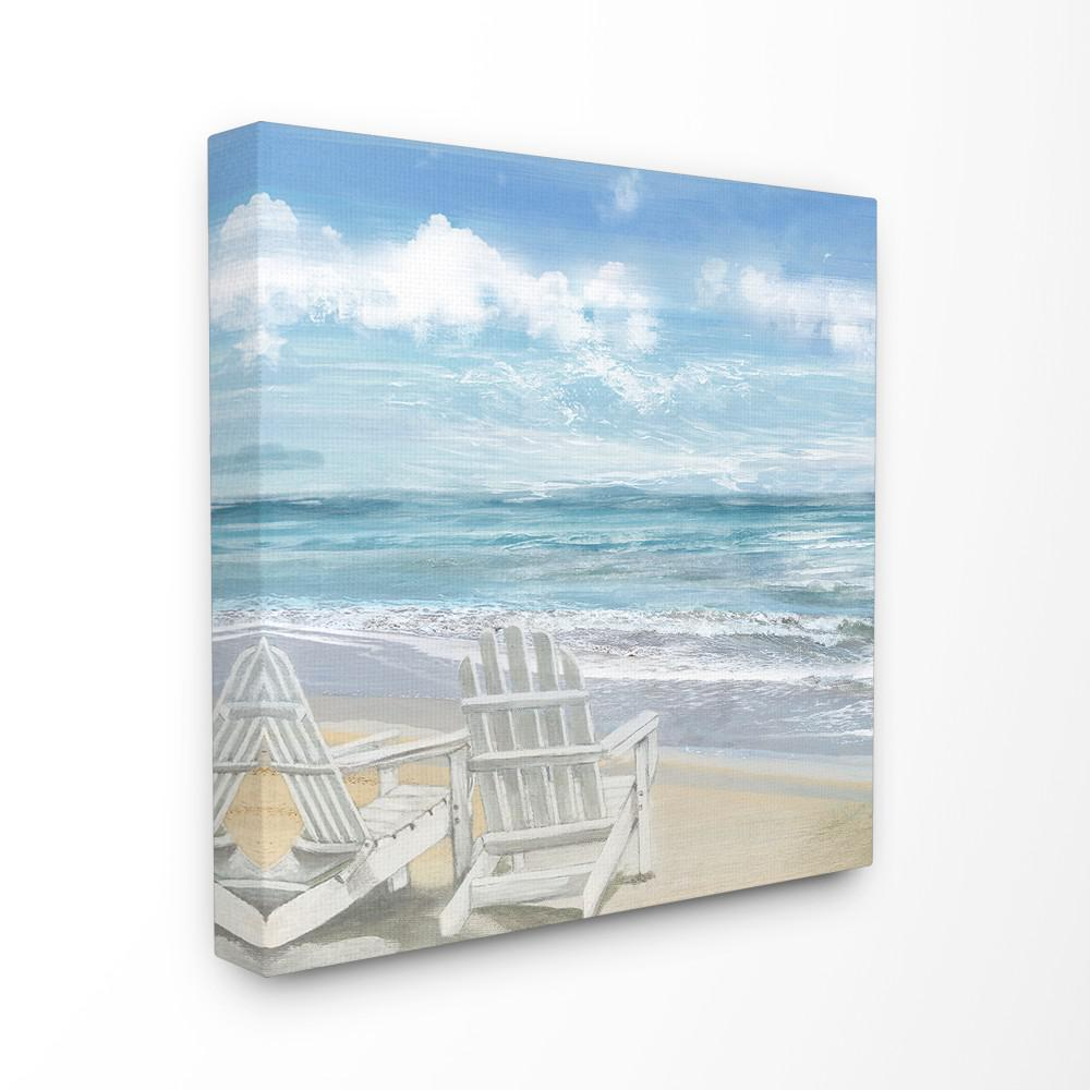 24 In X 24 In White Adirondack Chairs On The Beach Painting By Artist Main Line Art Design Canvas Wall Art