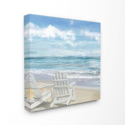 "24 in. x 24 in. ""White Adirondack Chairs on the Beach Painting""by Artist Main Line Art & Design Canvas Wall Art"