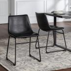 """18"""" Industrial Faux Leather Dining Chair, set of 2 - Black"""
