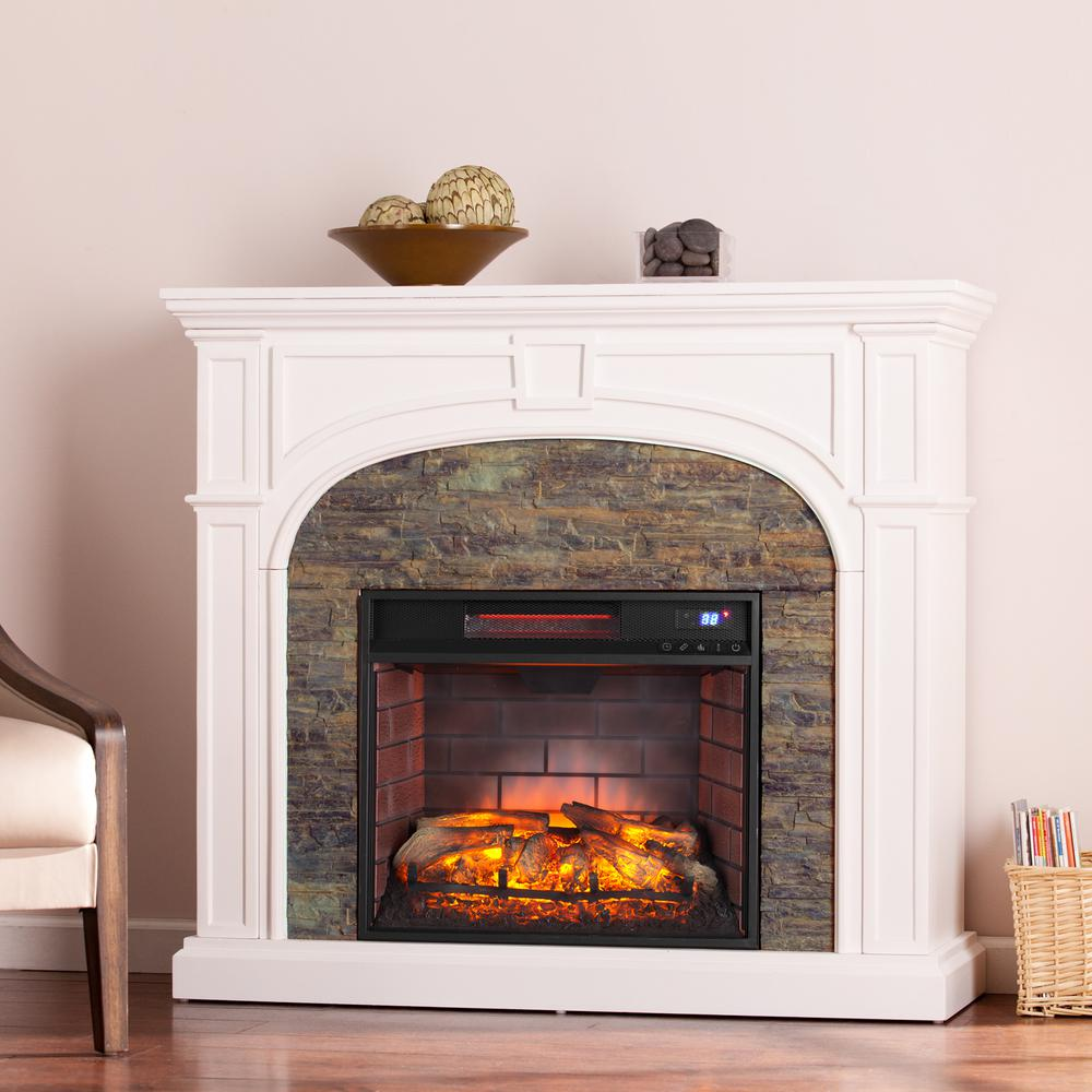 Granby In W Faux Stone Infrared Electric Fireplace In White Hd91241 The Home Depot