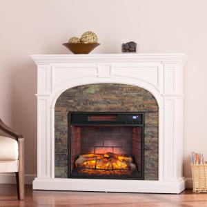 w faux stone infrared electric fireplace in white - Free Standing Electric Fireplace