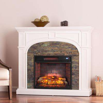 Granby 45.75 in. W Faux Stone Infrared Electric Fireplace in White