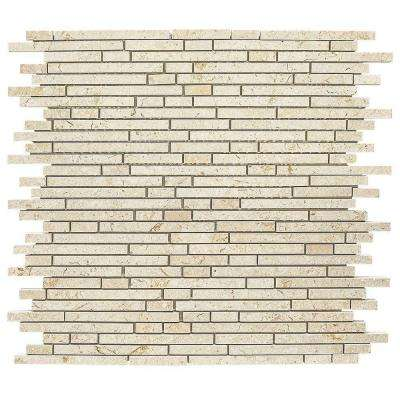 Egyptian Forest Mini Pencil 12 in. x 12 in. x 8 mm Marble Mosaic Wall Tile