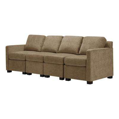 Chi Town 89 in. Mocha Brown Polyester 4-Seater Lawson Sofa with Square Arms