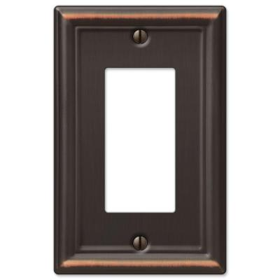 Ascher 1 Gang Rocker Steel Wall Plate - Aged Bronze