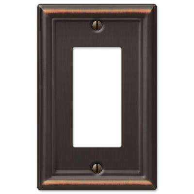 Ascher 1-Decora Wall Plate, Oil-Rubbed Bronze Stamped