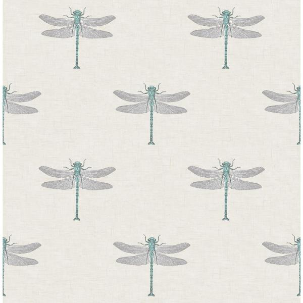 Catalina Metallic Blue and White Dragonfly Wallpaper
