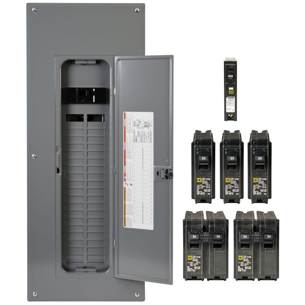 Homeline 200 Amp 40-Space 80-Circuit Indoor Main Breaker Plug-On Neutral · Square  D ...