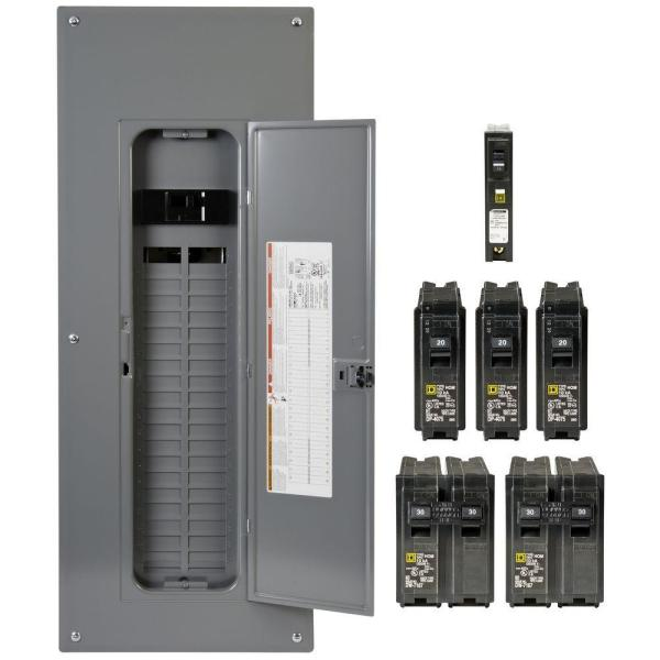 Homeline 200 Amp 40-Space 80-Circuit Indoor Main Breaker Plug-On Neutral Load Center with Cover - CAFI breaker ValuePack
