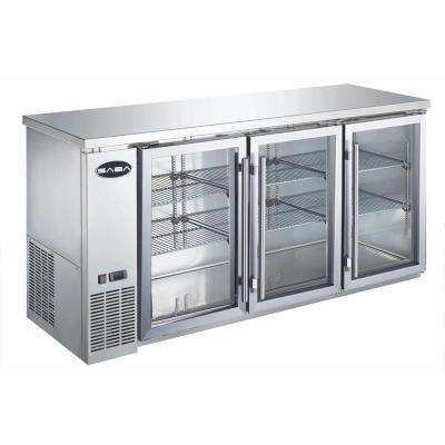 72 in. W 19.6 cu. ft. Commercial Back Bar Refrigerator with Glass Doors in Stainless Steel