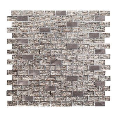 Prezzano Taupe 11.875 in. x 11.875 in. Interlocking Glossy Glass Mosaic Tile (0.979 sq. ft./Each)