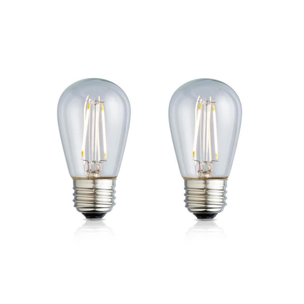 11W Equivalent Warm White S14 Clear Lens Nostalgic LED Light Bulb (2-Pack)