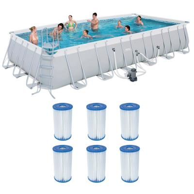 24 ft. x 12 ft. Rectangular 52 in. D Metal Frame Above Ground Pool and Type IV/B Cartridges (6-Pack)