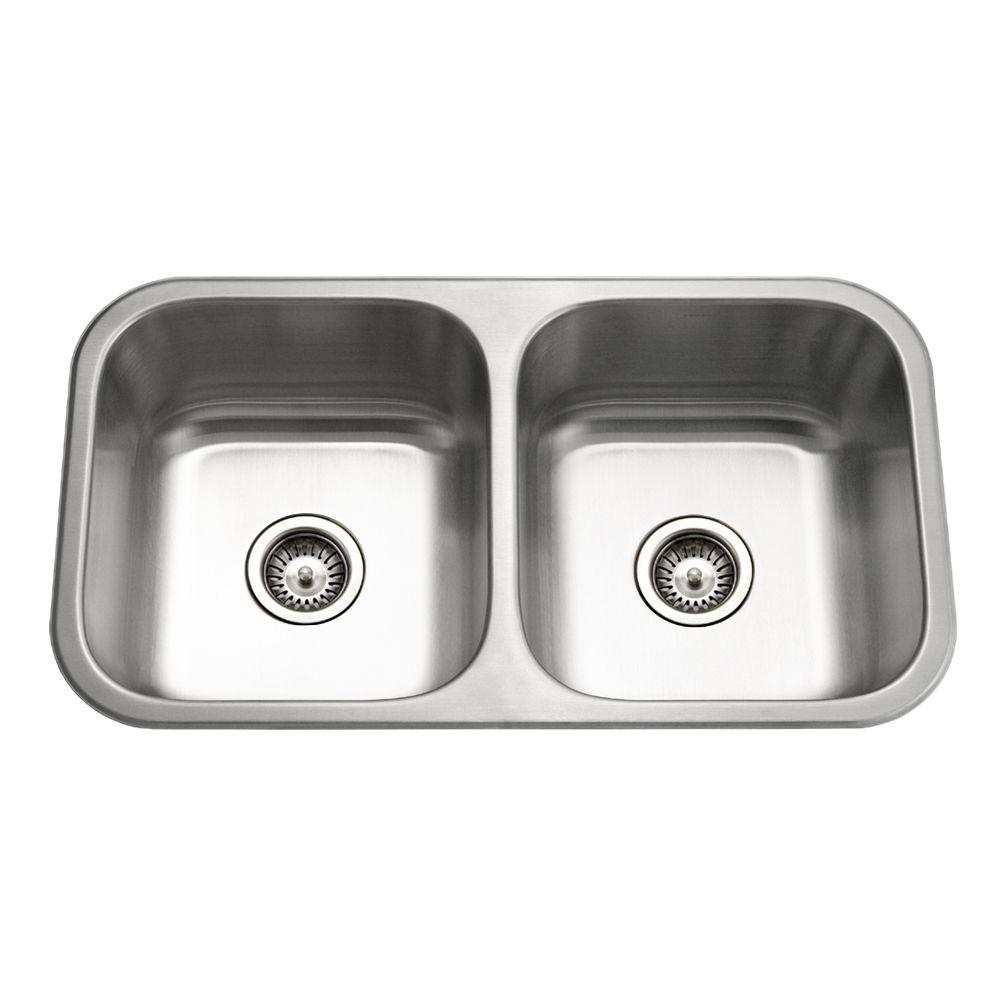 HOUZER Medallion Classic Series Undermount Stainless Steel 32 In. 0 Hole  Double Bowl Kitchen Sink MD 3109 1   The Home Depot