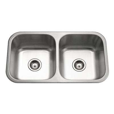 Medallion Classic Series Undermount Stainless Steel 32 in. 0-Hole Double Bowl Kitchen Sink