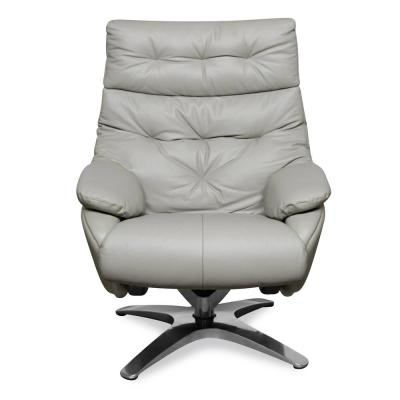 Paradigm Misty Gray Leather Lounge Chair with Ottoman