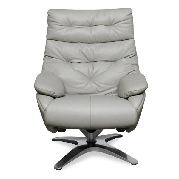 Poly and Bark Paradigm Misty Gray Leather Lounge Chair with Ottoman