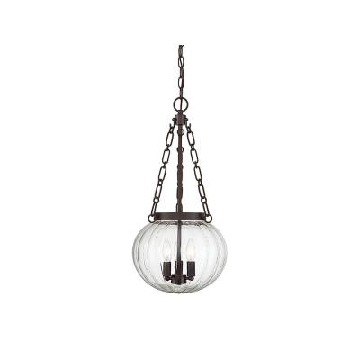 3-Light Oil Rubbed Bronze Pendant with Clear Glass