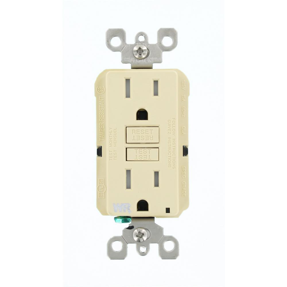 15 Amp SmartlockPro Weather/Tamper Resistant GFCI Outlet, Ivory