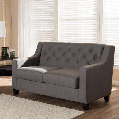 Arcadia Contemporary Gray Fabric Upholstered Loveseat
