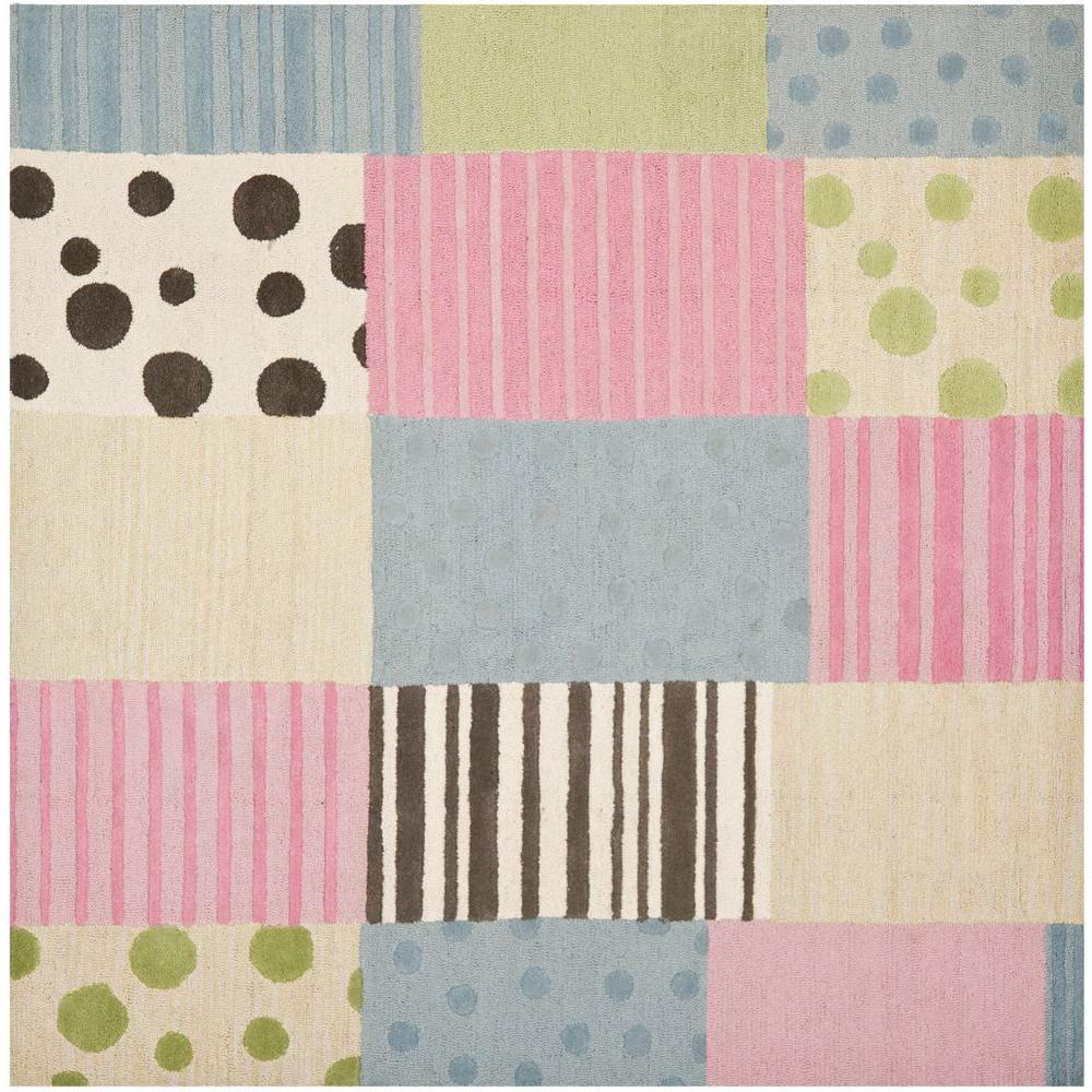 safavieh kids blue pink 7 ft x 7 ft square area rug sfk322a 7sq the home depot. Black Bedroom Furniture Sets. Home Design Ideas