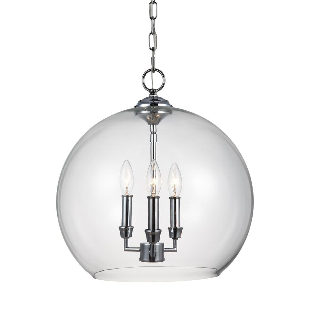 Lawler 16 in. W. 3-Light Chrome Pendant