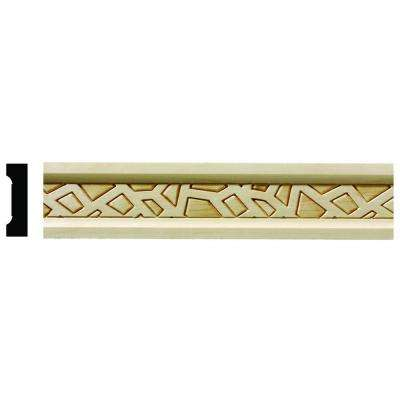 1626 1/2 in. x 1-3/4 in. x 6 in. Hardwood White Unfinished Cracked Ice Small Chair Rail Moulding Sample