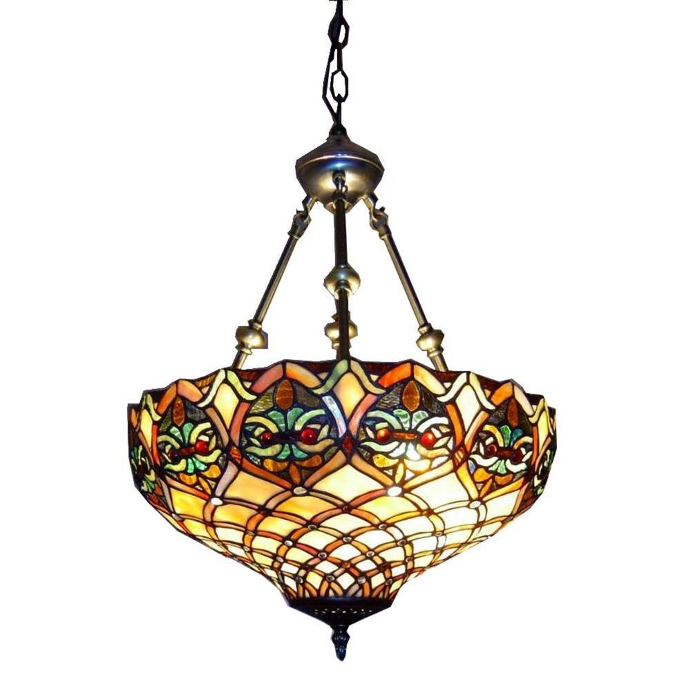 Warehouse Of Tiffany 2 Light Br Inverted Hanging Pendant With Ariel Stained Gl