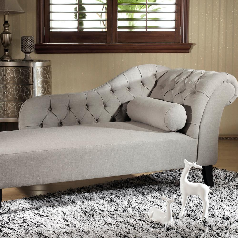 Aphrodite Traditional Gray Fabric Upholstered Chaise