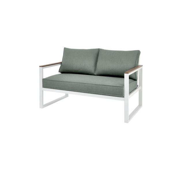 West Park White Aluminum Outdoor Patio Loveseat with Sunbrella Peacock Blue-Green Cushions