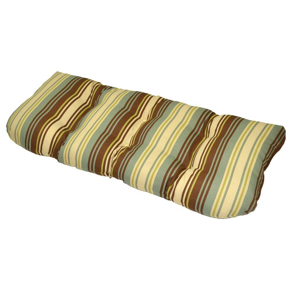 Plantation Patterns Lisbon Stripe Tufted Outdoor Bench Cushion-DISCONTINUED