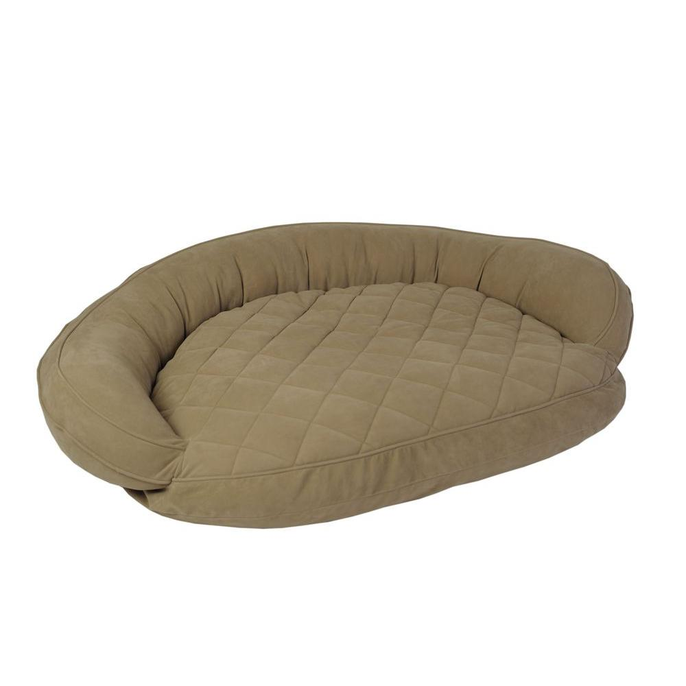 Carolina Pet Company X-Large Sage Microfiber Quilted Bolster Bed with Moister Protection The ultimate in comfort and luxury for your pet. The Microfiber Quilted Bolster Bed features a plush diamond-quilted fabric. The high loft recycled polyester fill keeps your furry friend healthy and happy by relieving pressure on hips and joints.