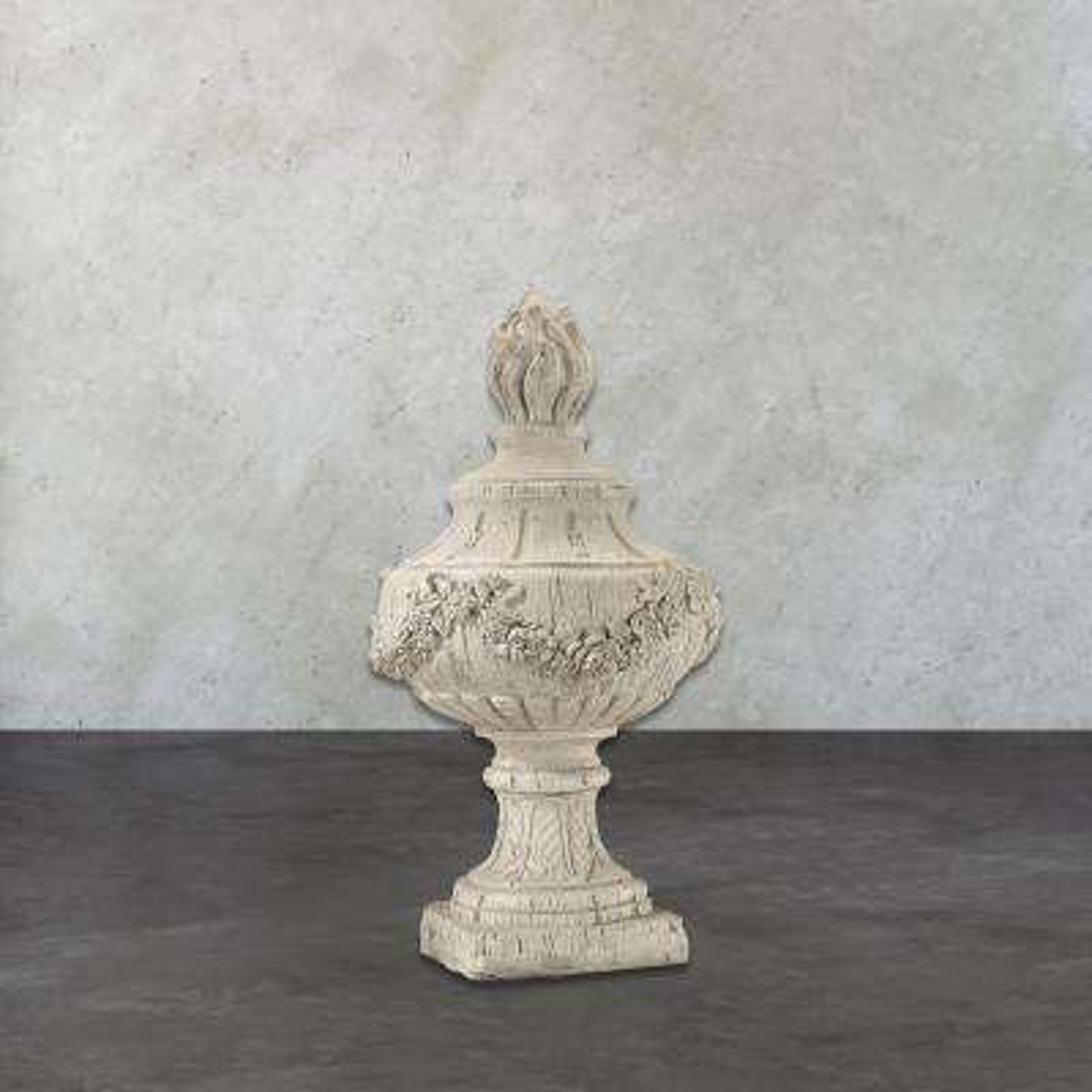 Rouen 30 in. Antique White Wooden Decorative Finial Sculpture