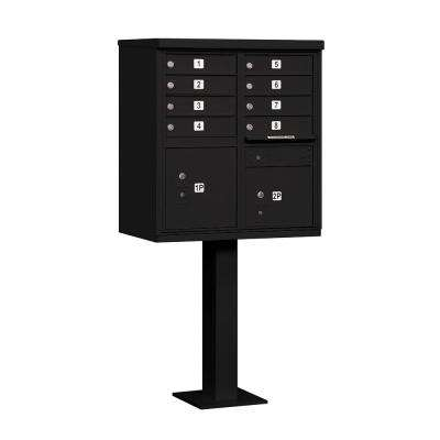 Black USPS Access Cluster Box Unit with 8 A Size Doors and Pedestal