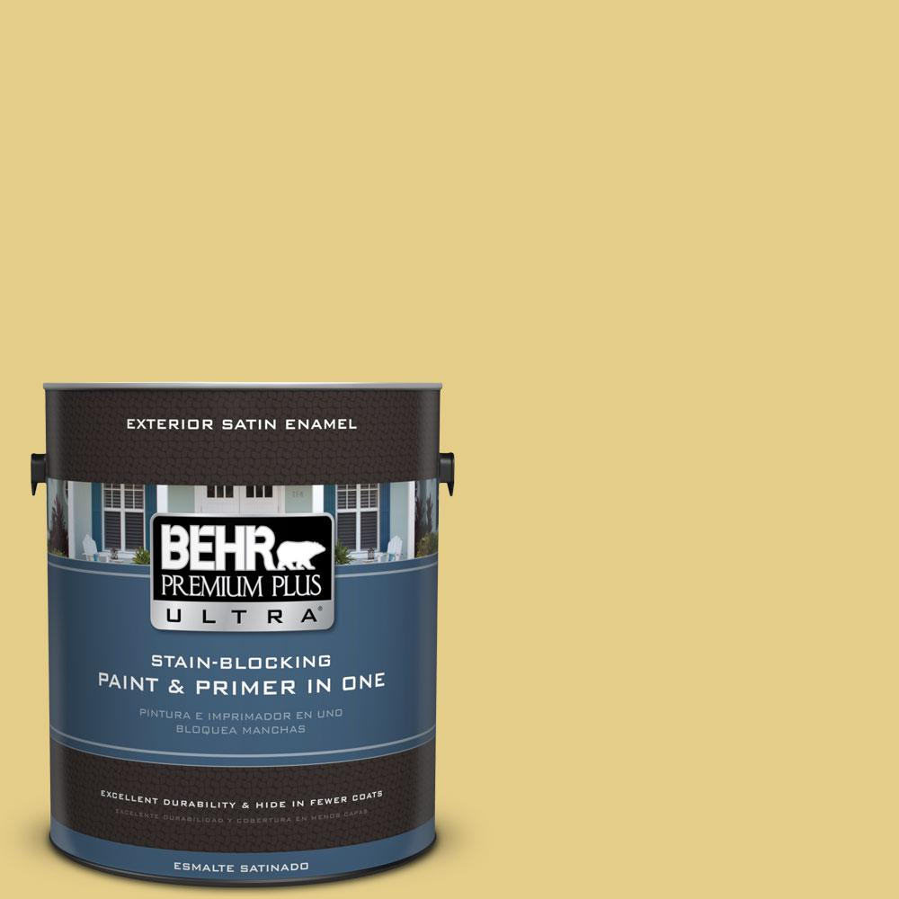 BEHR Premium Plus Ultra 1-gal. #T12-6 Lol Yellow Satin Enamel Exterior Paint
