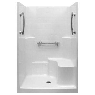 Imperial 37 in. x 48 in. x 80 in. 1-Piece Low Threshold Shower Stall in White, Molded Seat, Accessories, Center Drain