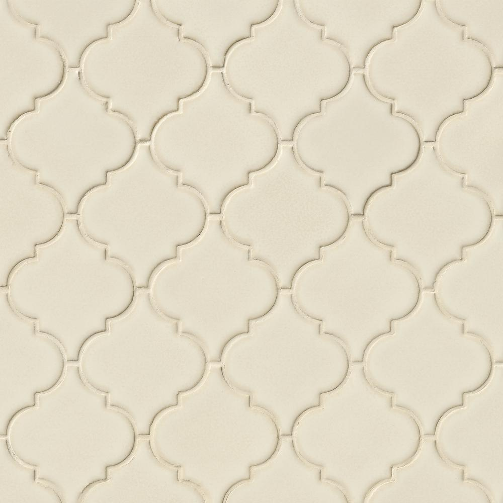 MSI Antique White Arabesque 10-1/2 in. x 15-1/2 in. x 8 mm Glazed Ceramic Mesh-Mounted Mosaic Wall Tile (11.7 sq. ft. /case)