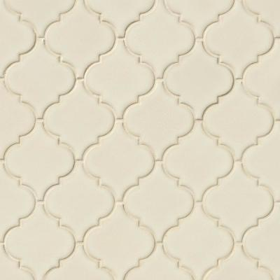 Antique White Arabesque 10-1/2 in. x 15-1/2 in. x 8 mm Glossy Ceramic Mesh-Mounted Mosaic Wall Tile (11.7 sq. ft. /case)